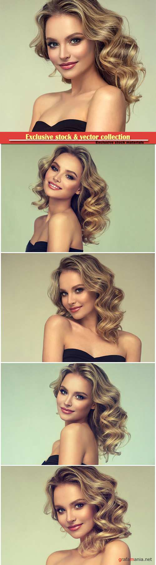 Pretty blond-haired model with middle length curly, loose hairstyle and attractive makeup