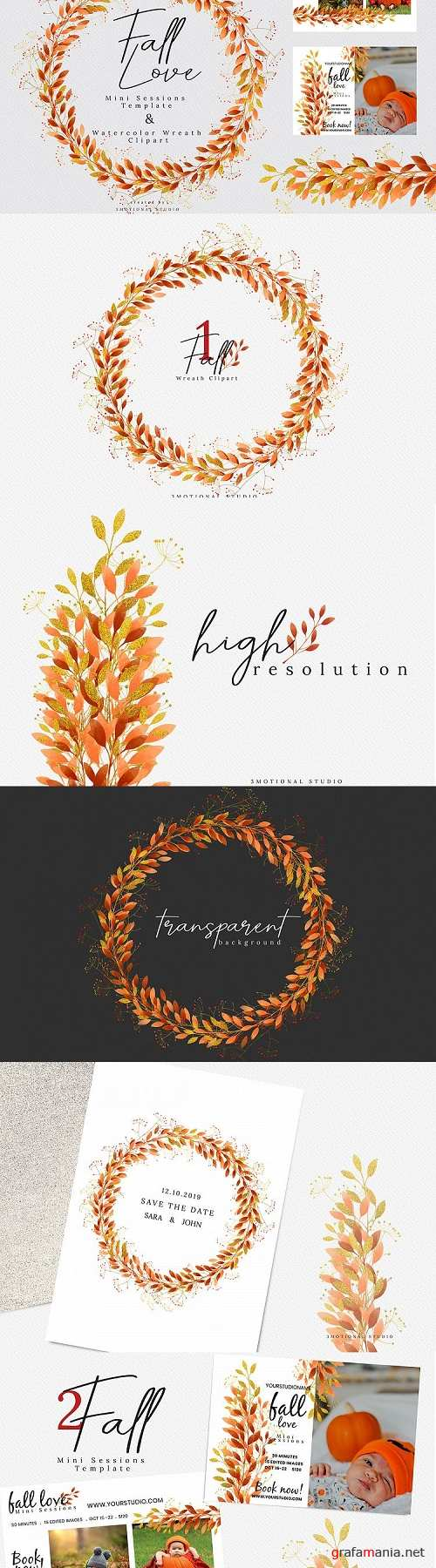 Fall Love Mini Sessions Template and Wreath Clip-art - 368284