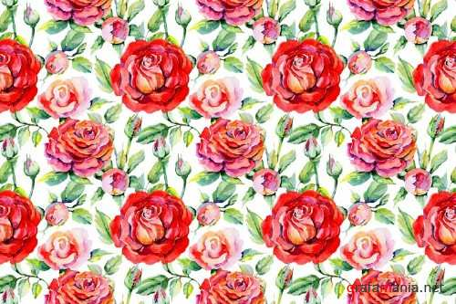 Roses red PNG watercolor flower set 371716