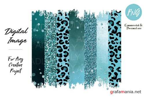 Turquoise Leopard Brush Strokes Sublimation transfer clipart - 376634