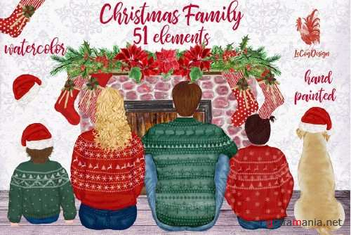 Christmas family clipart Fireplace - 4264999