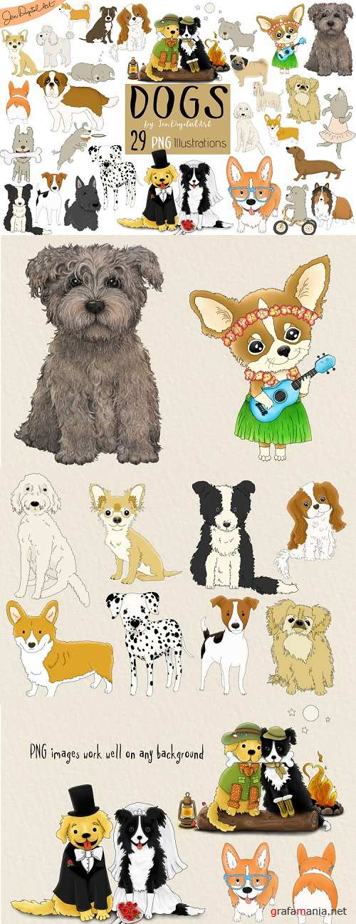 DOGS - BIG GRAPHICS SET | 29 PNG Images - 378539