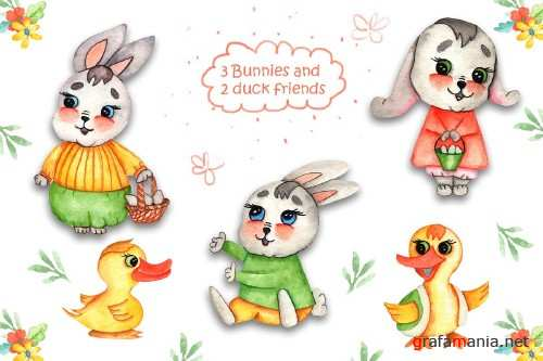 Watercolor Easter Bunnies Illustrations - 4268080