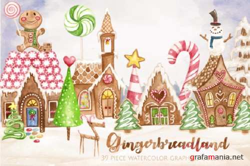 Gingerbread Land Watercolor Collection
