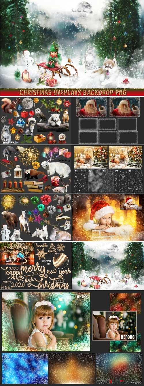 150 Christmas, overlays, photoshop PNG clipart backdrop - 380415