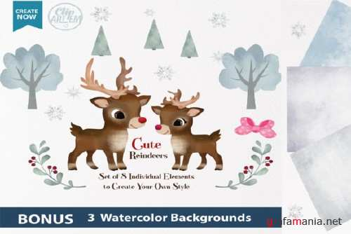 Watercolor Reindeer Boy and Girl Clipart
