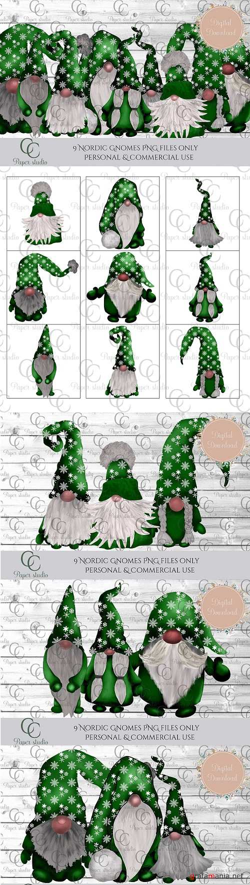 Scandinavian Tomte Gnomes - Christmas green snowflakes - 381637
