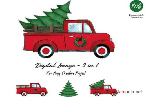 Christmas Sublimation Red Truck