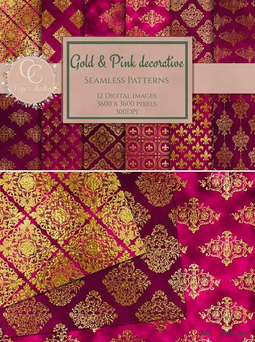 Gold and Pink damask digital paper - 352512