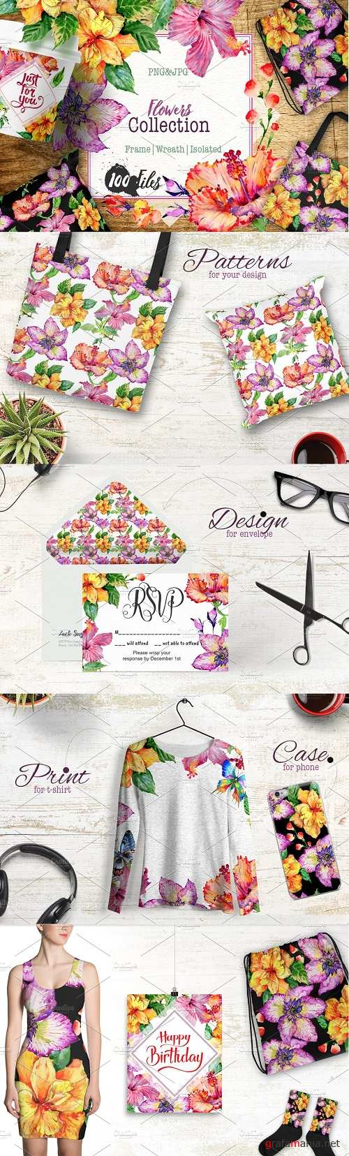 Hibiscus PNG watercolor flower set - 4282830