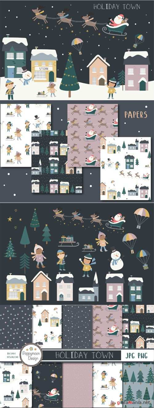 Holiday Town Clipart and Papers
