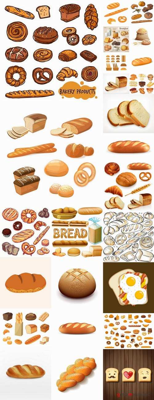 Bread bun croissant bagel bakery products vector image 25 EPS