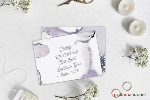 Silver Watercolor+Ink Abstract Christmas - 2599170