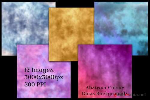 Abstract Colour Glass Backgrounds - 12 Image Textures Set - 390411
