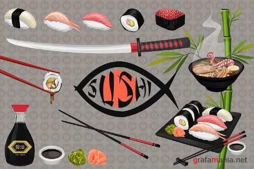 Japanese Sushi Illustrated Graphics and Digital Paper Set - 167303