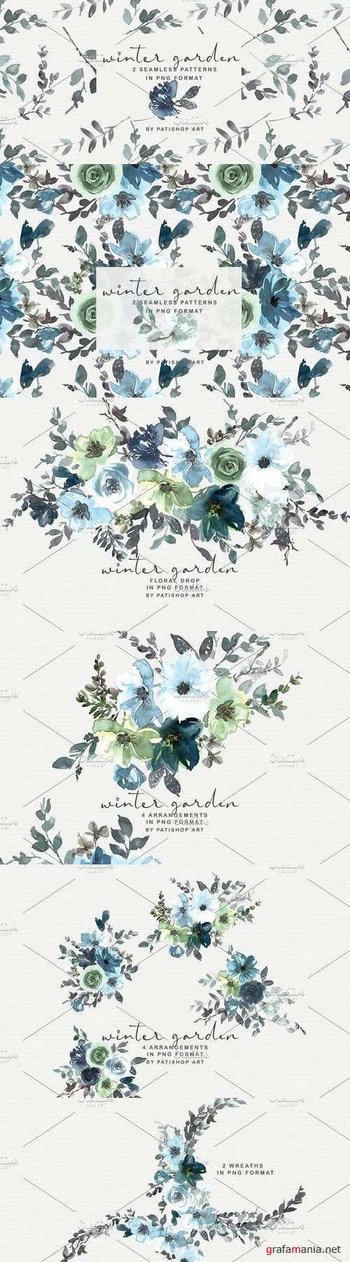 Icy Blue Watercolor Floral Clipart - 4263712