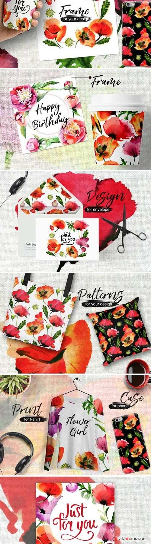 Poppy flowers PNG watercolor set - 4282981