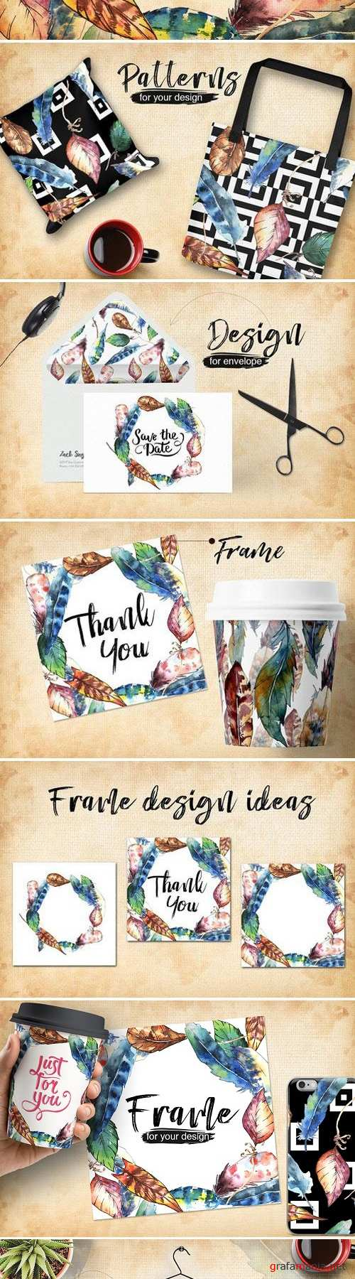 Feather bird PNG watercolor set - 4282935