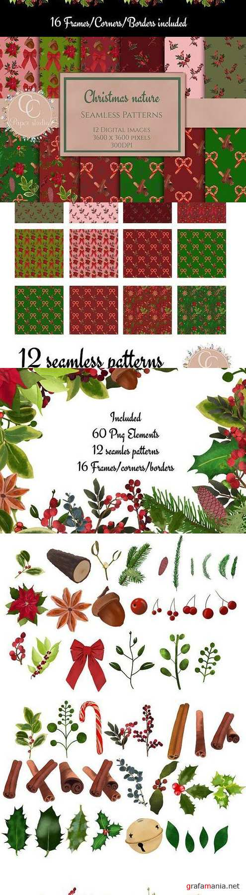 Christmas Nature collection - Watercolor florals - 386740