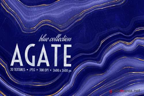 Blue & Gold Agate Geode Textures - 4412832