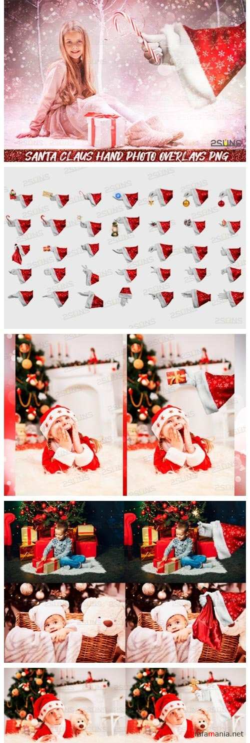 Christmas overlays Santa Claus Hand clipart png Photoshop - 411077