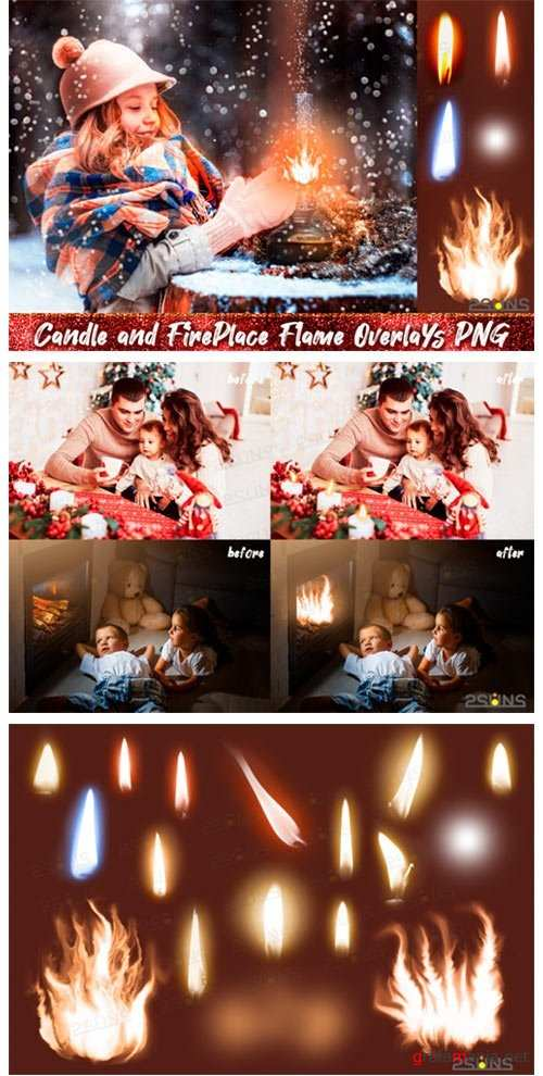 Christmas overlays Candle flame png Fireplace overlays - 410319