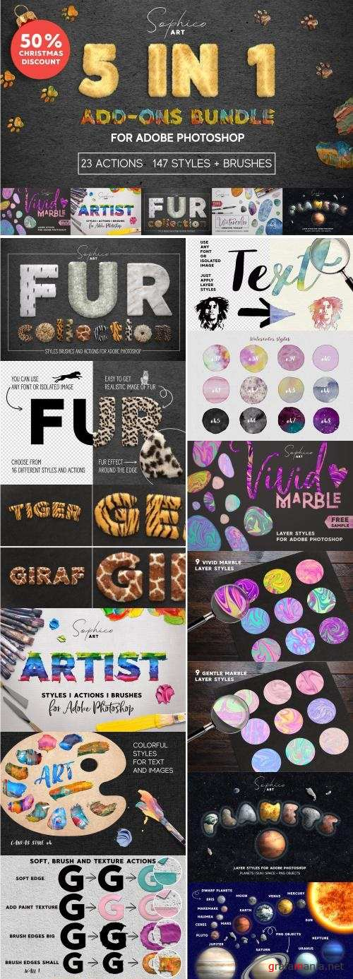 5 IN 1 ADD-ONS Bundle For Photoshop - 4286624