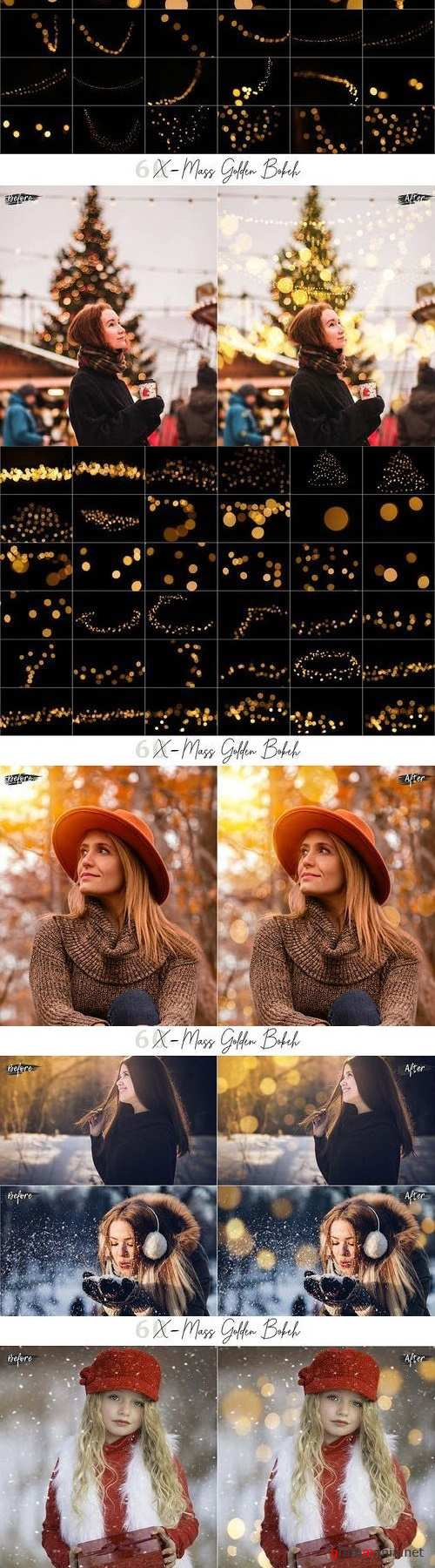 60 X-Mass Golden Bokeh lights Effect Photo Overlay - 404517