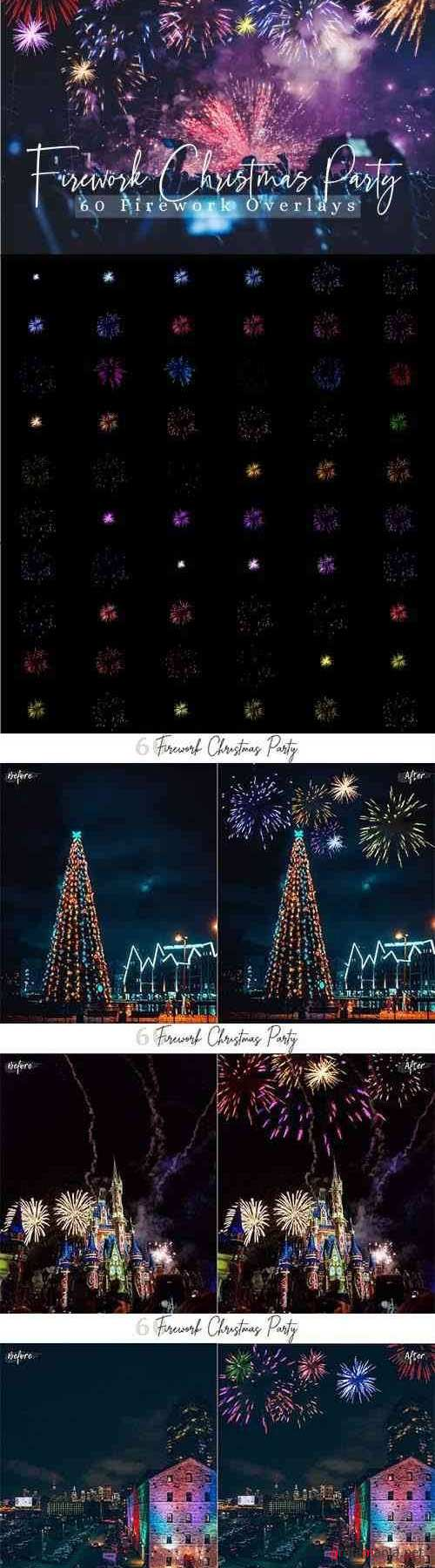 60 Firework Christmas Party Overlays - 407107