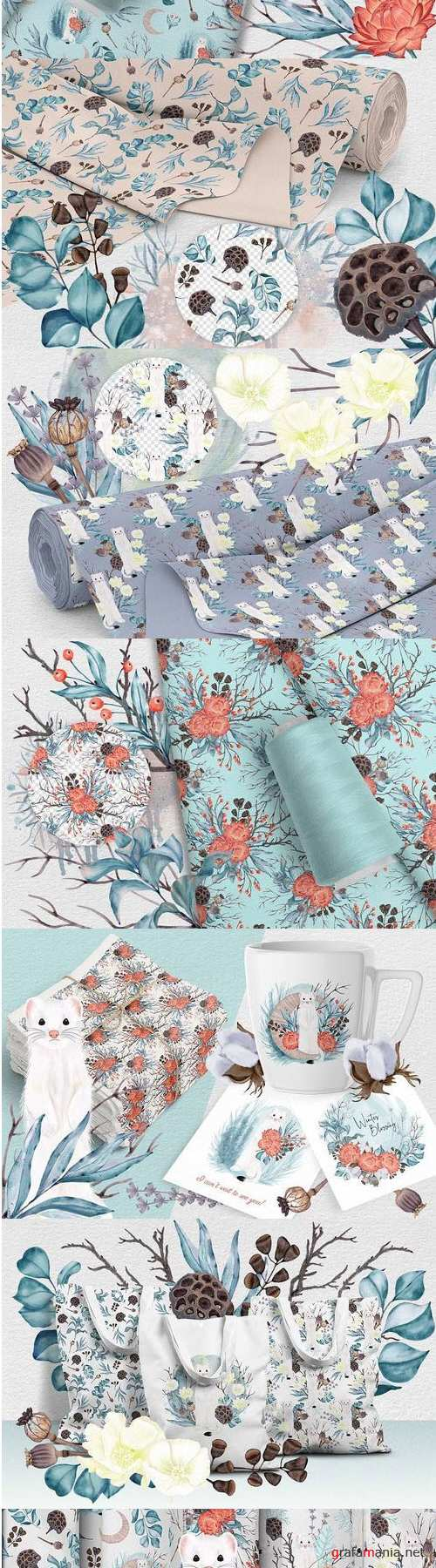 Winter nature pack. Patterns. Premade compositions 407847