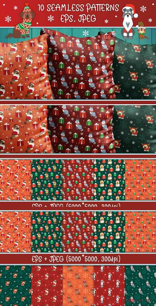 Woof. Christmas seamless patterns with cute doggies - 410431