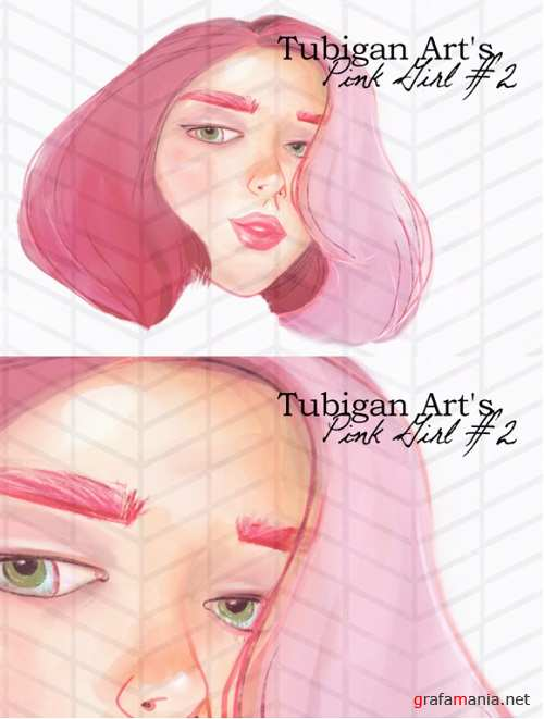 Illustration of a Girl in Pink Artsy #2