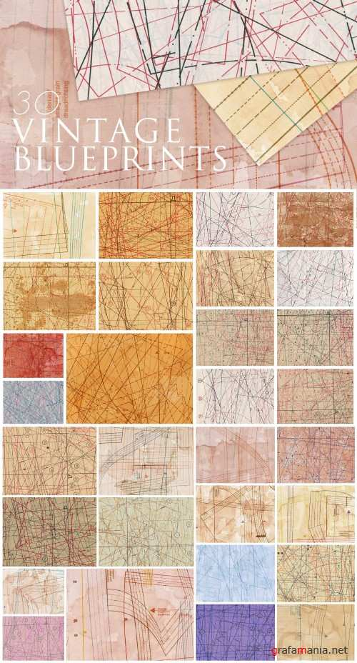 30 Vintage Fabric Blueprint Textures