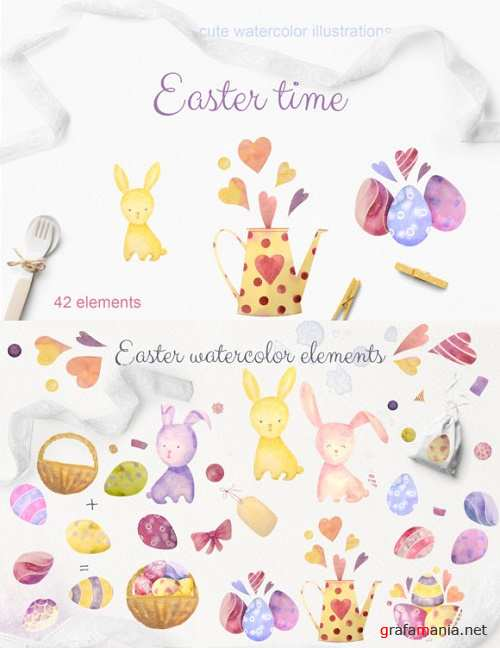 Easter Time. Set of Watercolor Elements