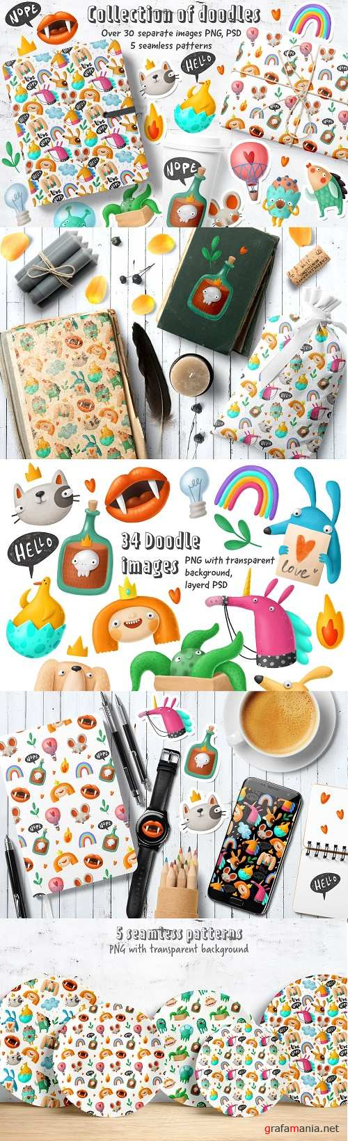 Collection of doodles - 2976709 - Cartoon Doodles Clipart