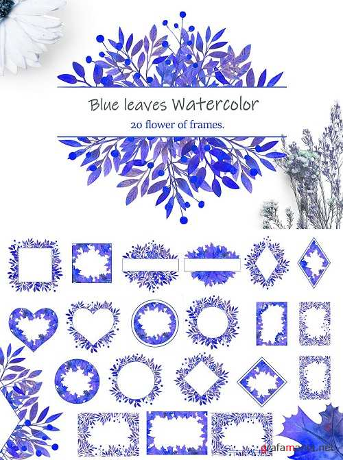 Romantic Frames with Blue Leaves - 419500