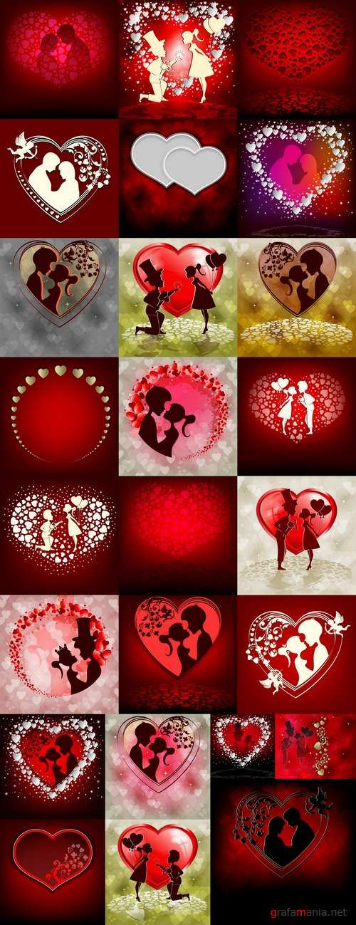 Flyer gift card Valentines Day invitation card vector image 4-25 EPS