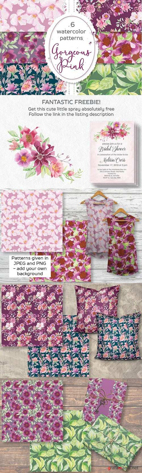 Six pink floral watercolor patterns - 2624167