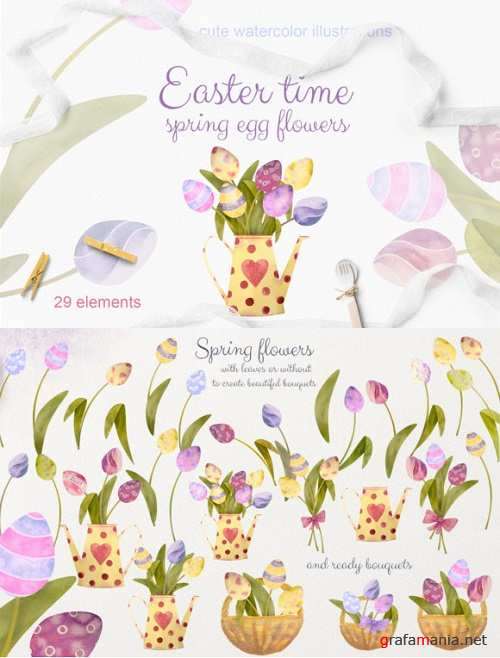 Easter Time. Set Watercolor Egg Flowers