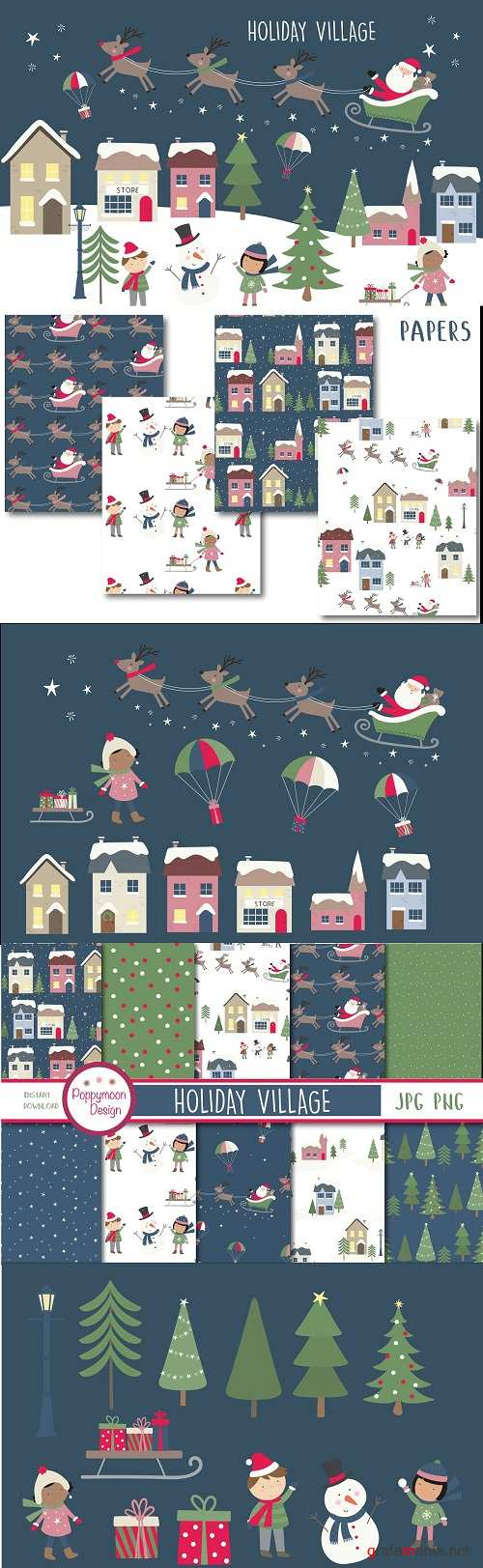 Holiday Village Clipart and Papers - 4073051 - 4073150