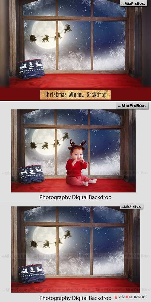Christmas Window Backdrop - 4352478