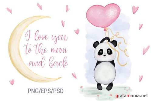 Panda With Balloon Heart. Valentine's Day - 419628