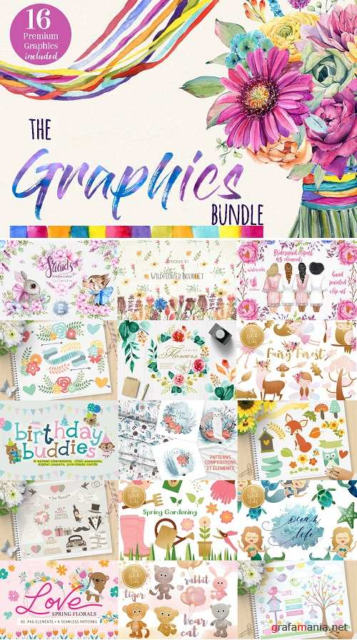 The Graphics Bundle - Clipart, Illustrations, Patterns, Premade compositions