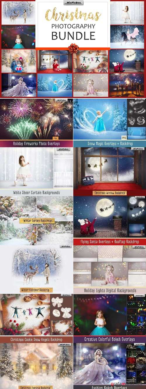 Christmas Photography Bundle - Holly Jolly Holiday -  Backdrops and Overlays