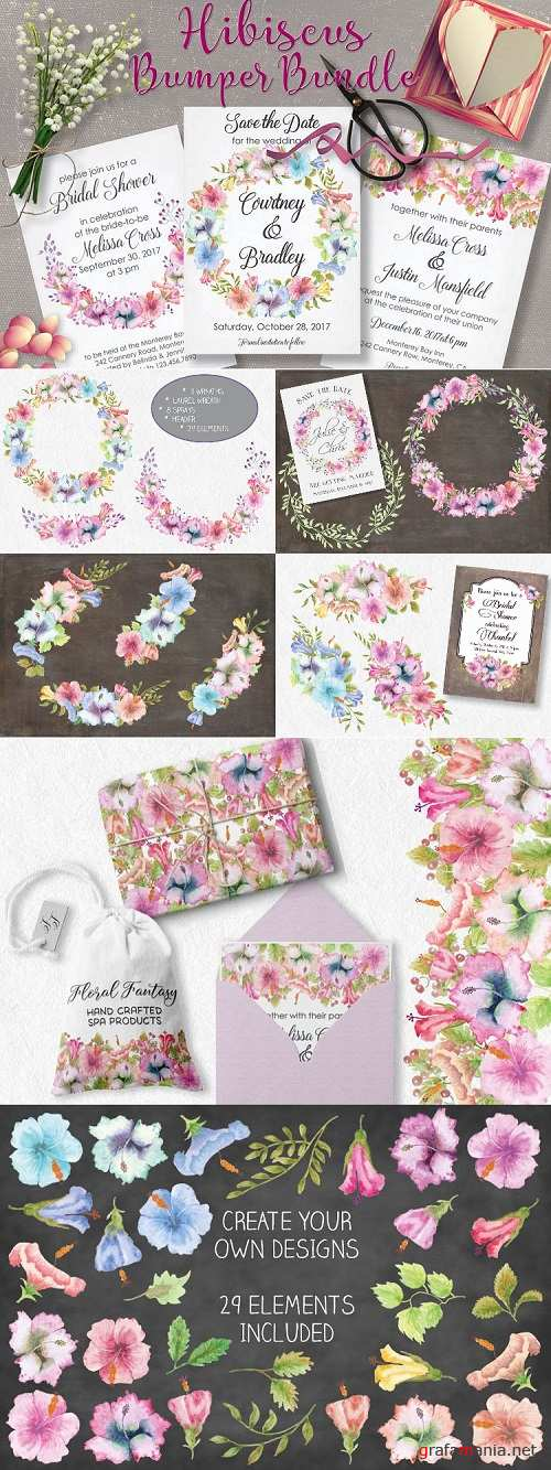 Watercolor clip art bundle: pastel Hibiscus - 26286