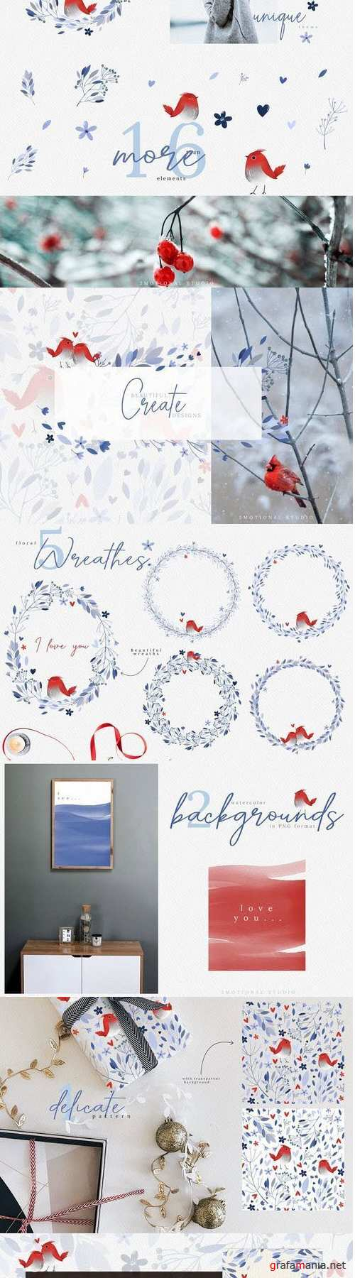 Watercolor Winter Flower Collection high res png - 414433