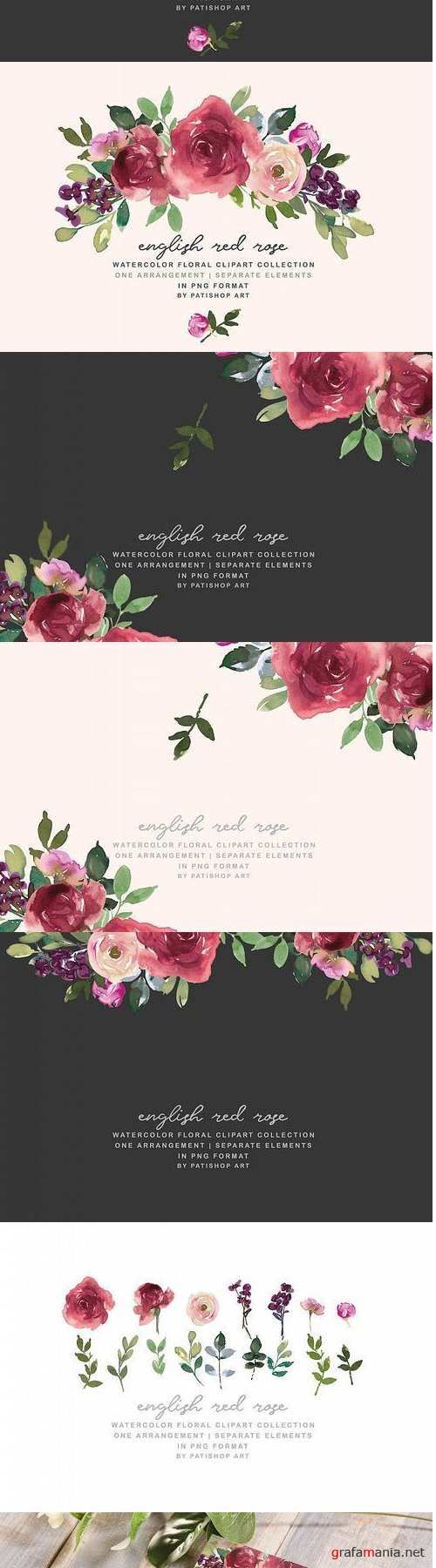 Red Watercolor Floral Clipart Burgundy Rose Set - 415202