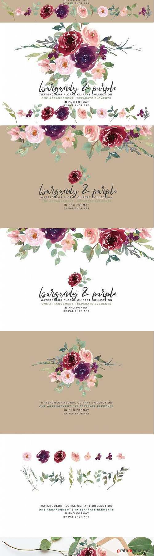 Burgundy Purple and Blush Watercolor Floral Clipart Set - 413853
