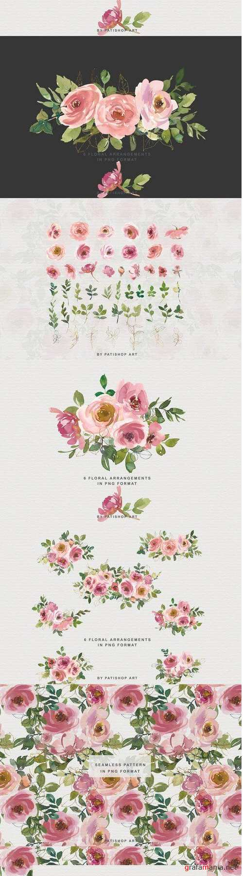 Blush Watercolor Floral Clipart Set - 4422542