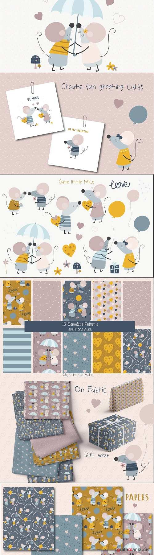 Squeak Hearts Set - 4452195 - 4454133 - Clipart and Papers